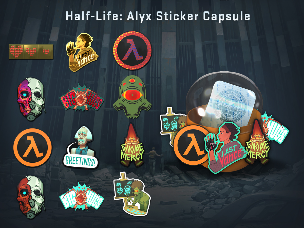 Капсула с Half-Life: Alyx стикери