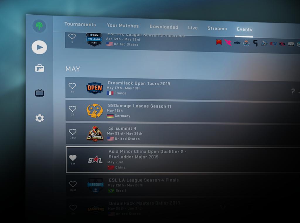 Изглед към менюто за CS:GO събития