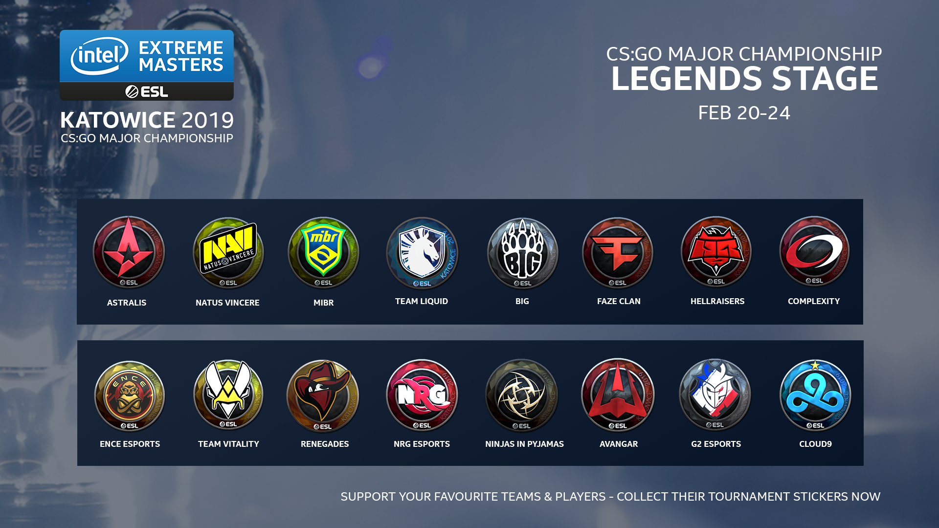 Информация относно етап за легендите на intel EXRTEME MASTERS ESL през значителния CS:GO шампионат Katowice 2019 20 — 24 февруари