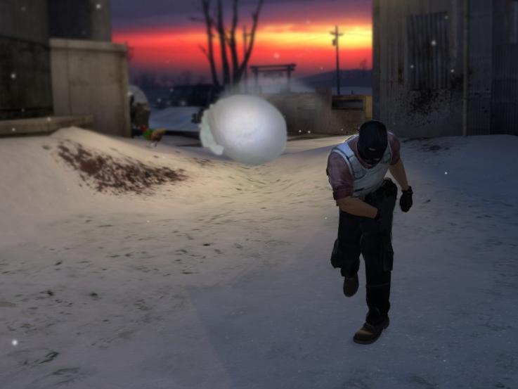 Терорист, хвърлящ снежна топка